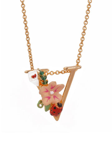 Les Nereides Alphabet Fleuri Necklace