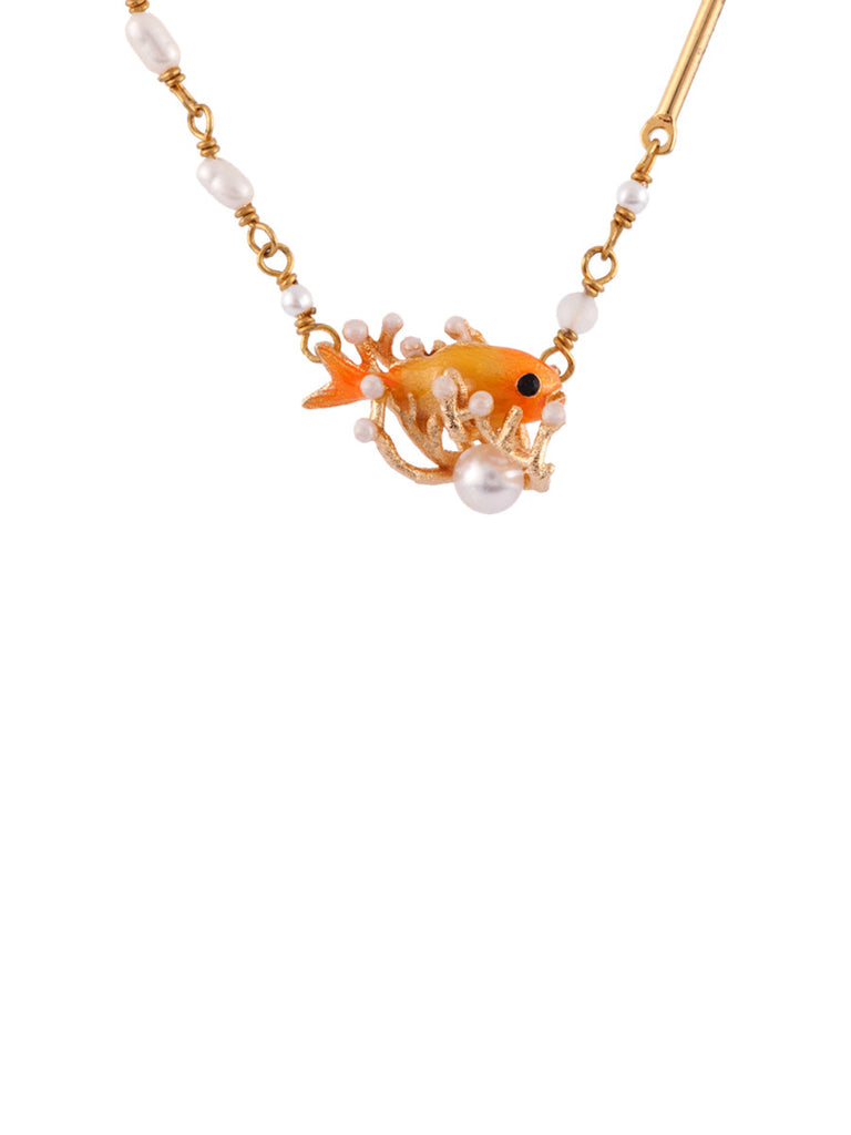 Les Nereides Atlantide Gold Fish Short Necklace