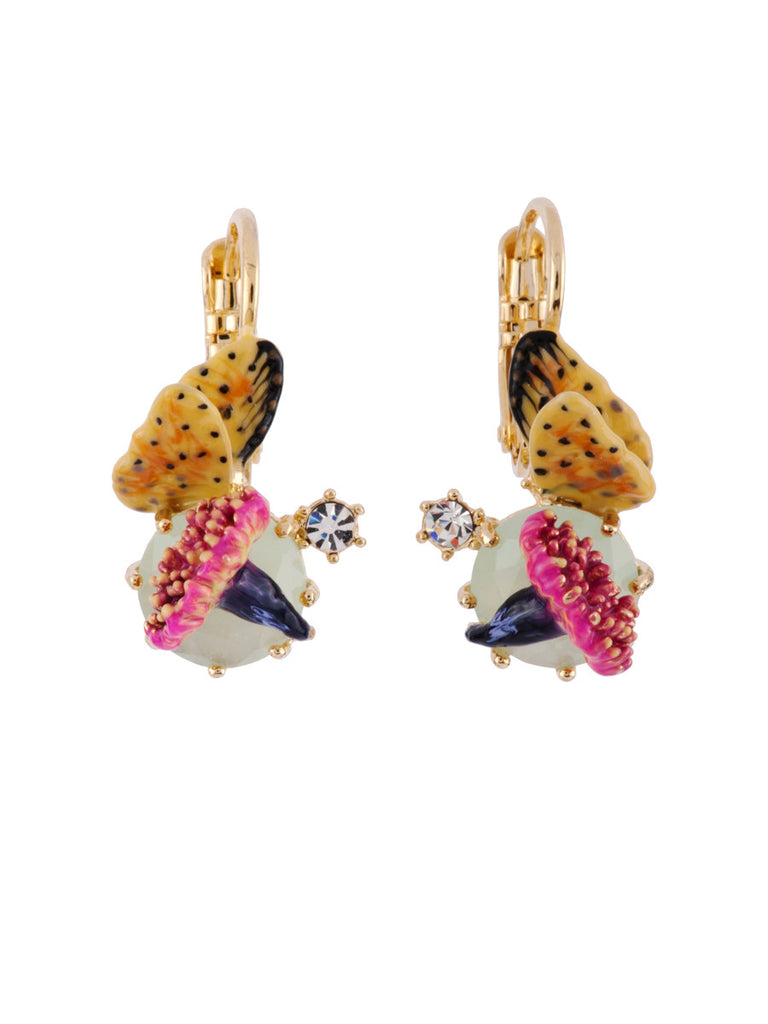 Les Nereides Chimerical Flower, Butterfly And Blue Stone Earring