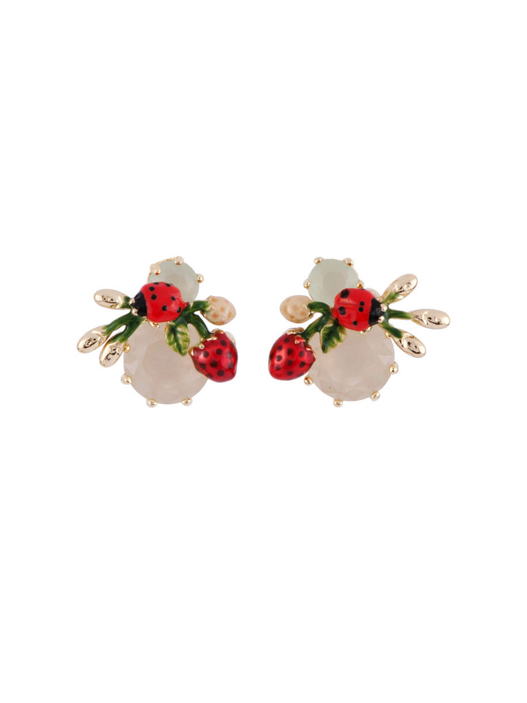 Les Nereides Ladybird And Strawberry Clip Earrings