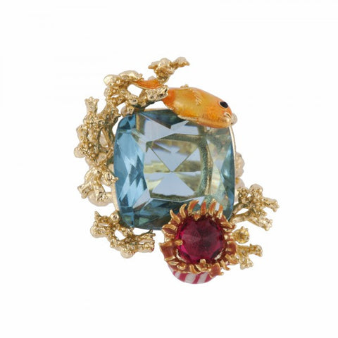 Les Nereides Atlantide Fish on Faceted Glass Ring