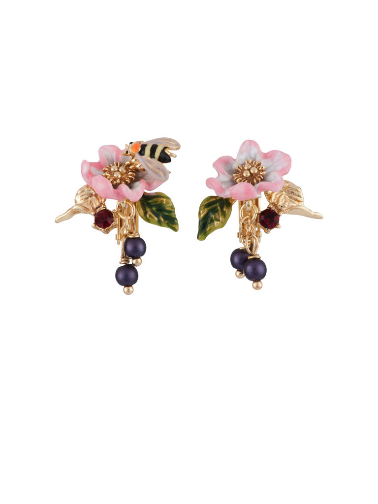 Nereides Oriental Rose Pink Flower And Bee Earring