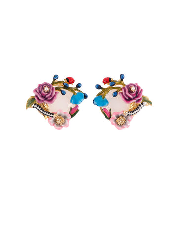 Les Nereides Oriental Rose Caterpillar and Ladybird Earring