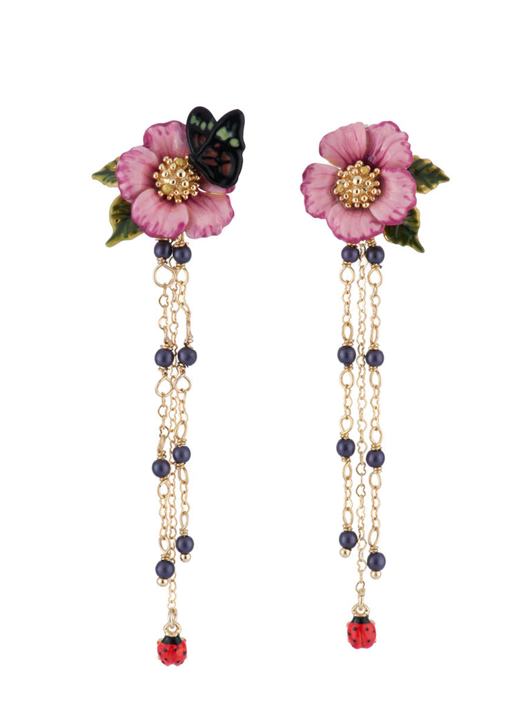 Les Nereides Oriental Rose Butterfly and Chain Earring