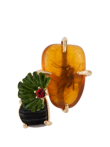 Les Nereides Fossilized Mosqito In Amber Ring