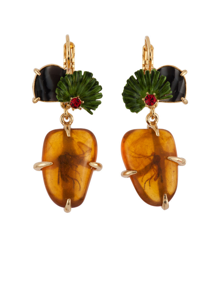 Les Nereides Fossilized Mosqito In Amber Earring