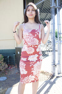 Floral Rust Bodycon Dress
