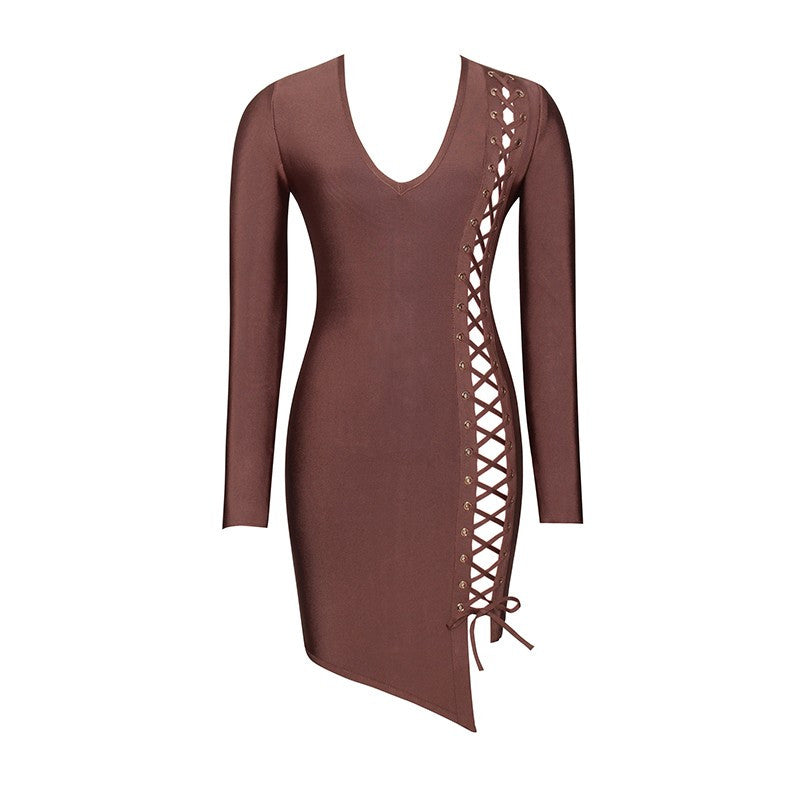 VALENCIA MOCHA LACE UP BANDAGE DRESS