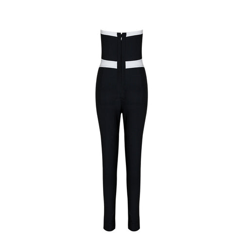 BRIANA BLACK AND WHITE BANDAGE JUMPSUIT