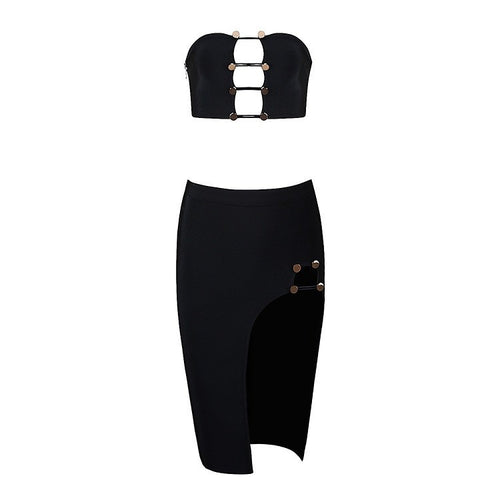 VINCA BLACK BANDAGE SKIRT SET