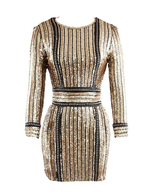 LILLIAN GOLD SEQUINNED DRESS