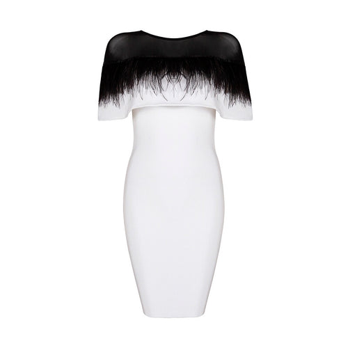 KEIKO FEATHERED WHITE BANDAGE DRESS