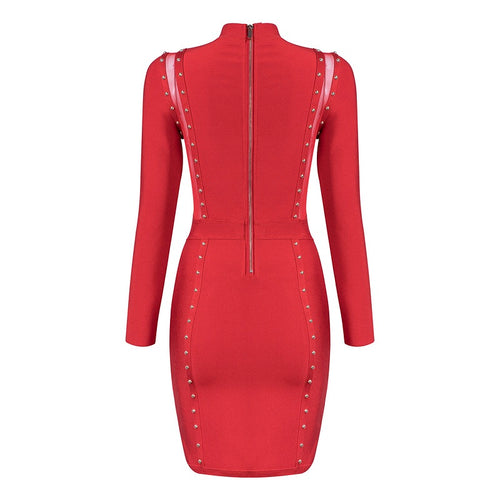 LUNA RED MESH BANDAGE DRESS