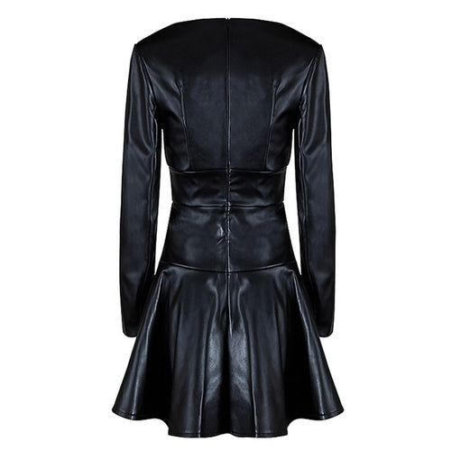 RAINE RUFFLE BLACK LEATHER DRESS