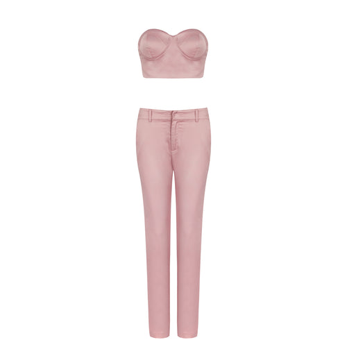 JENNIFER SATIN BLUSH PANT SET