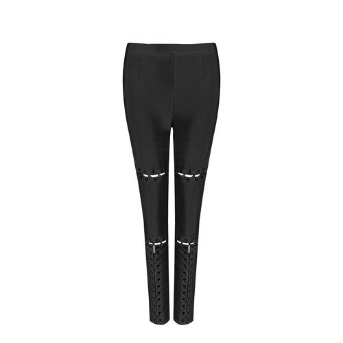 AUBREY LACE UP BLACK BANDAGE PANTS