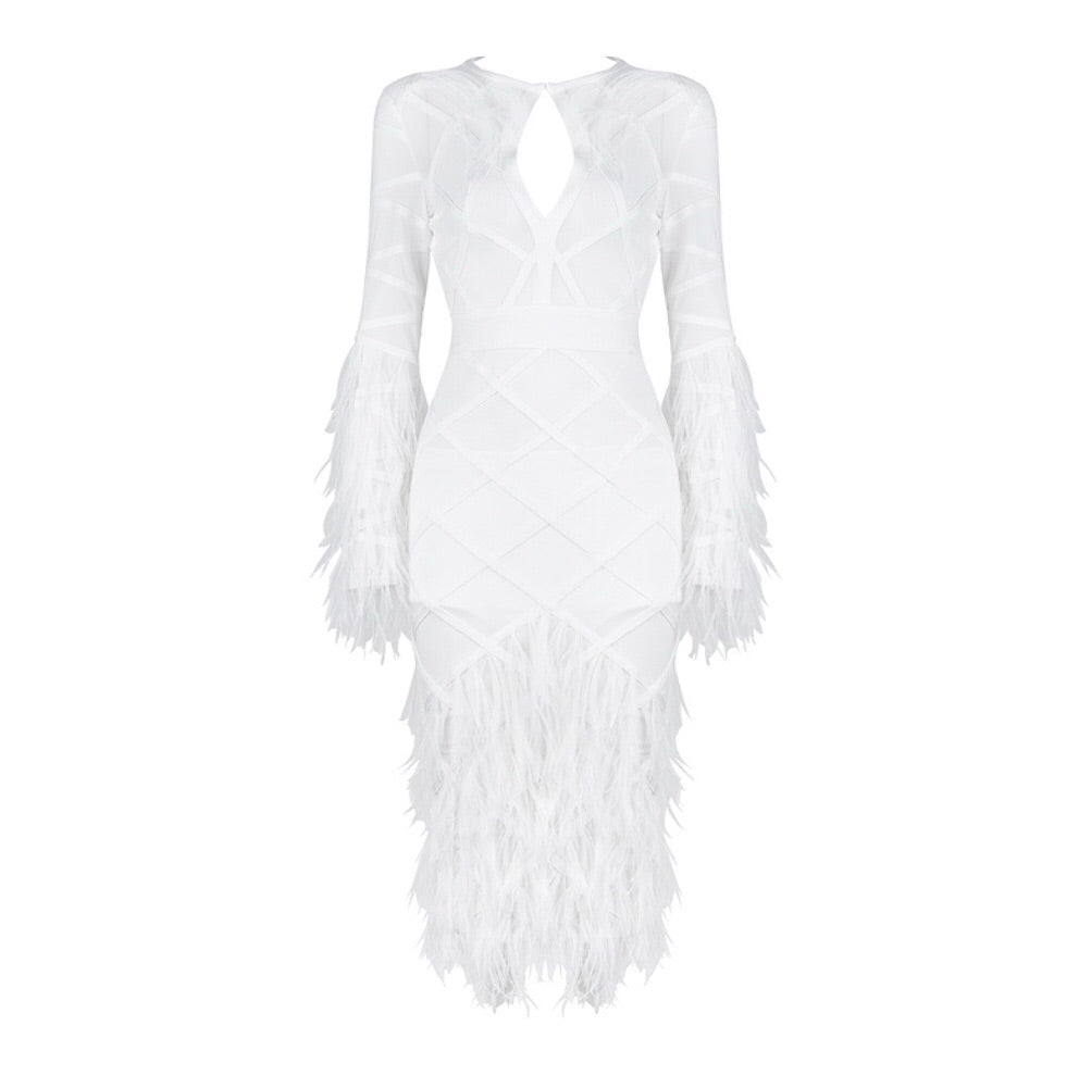 PEA FEATHER MESH DRESS