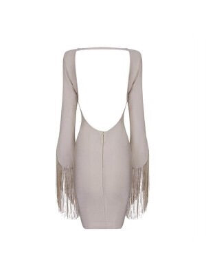 VICTORIA FRINGE SLEEVE CREAM BANDAGE DRESS