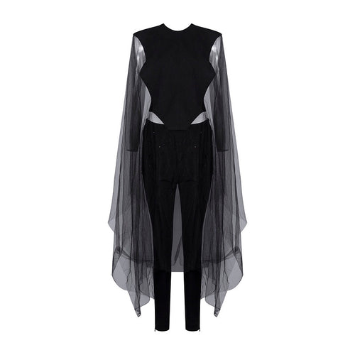 BELLA SHEER CAPE BACKLESS JUMPSUIT