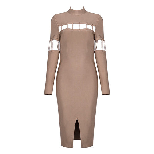 AVA CHAIN NUDE BANDAGE DRESS