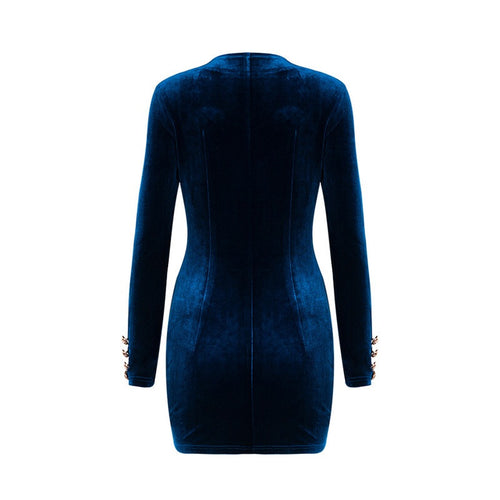 SAVANNAH BLUE VELVET DRESS