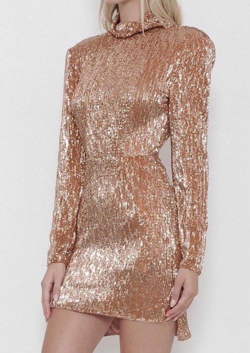 GIZELLE ROSE GOLD SEQUIN DRESS