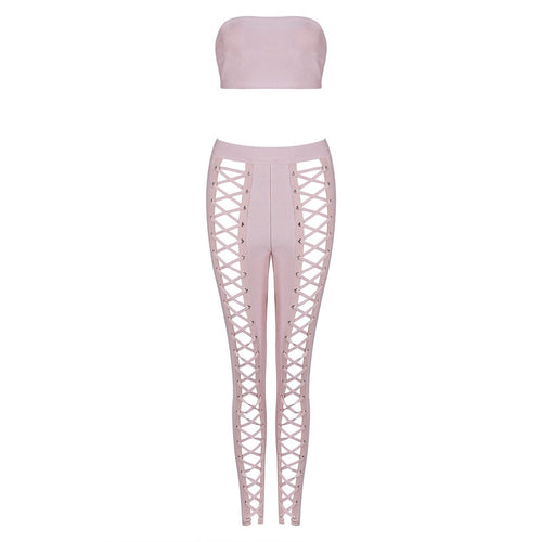 AAHMINAH TWO PIECE LACE UP BLUSH BANDAGE SET