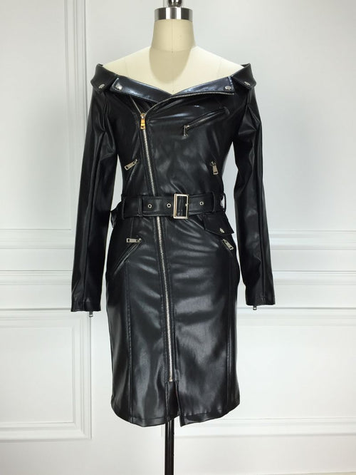 CYNTHIA LEATHER MOTOR JACKET DRESS