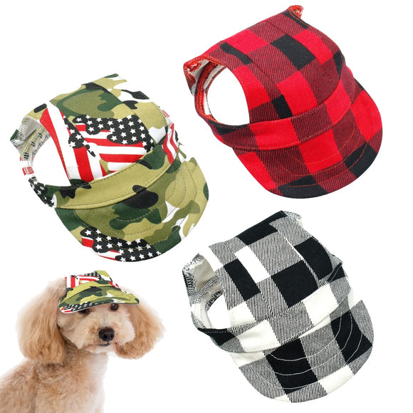 Breathable Plaid Dog Hat
