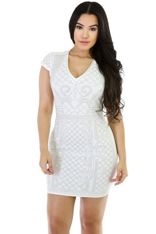 White Rhinestone Body Con - Cynt's Fashions Boutique