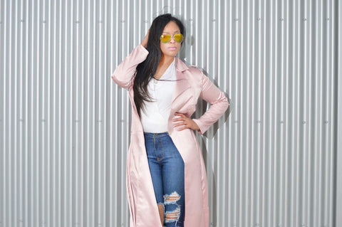 Pink Satin Duster Coat mood - Cynt's Fashions Boutique