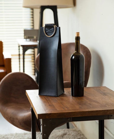 Leather wine holder