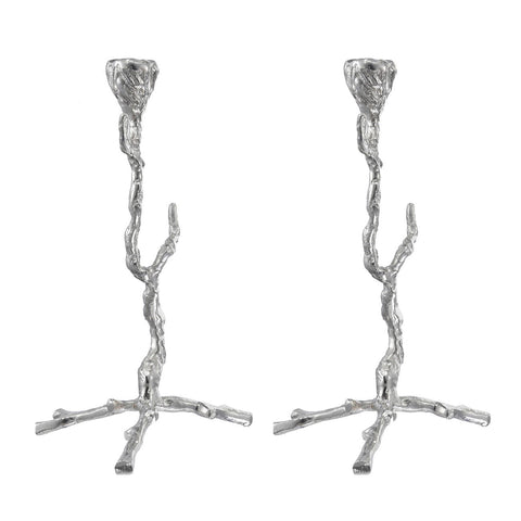 Twig taper candle holder set of 2