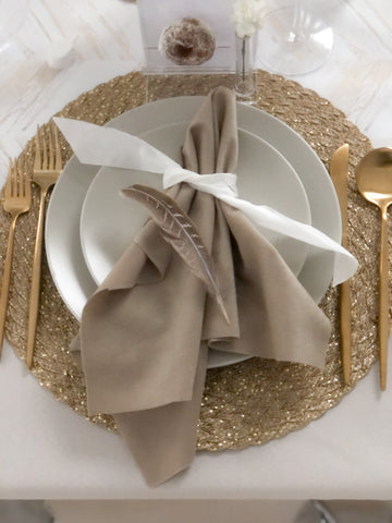 Natural and gold placemat