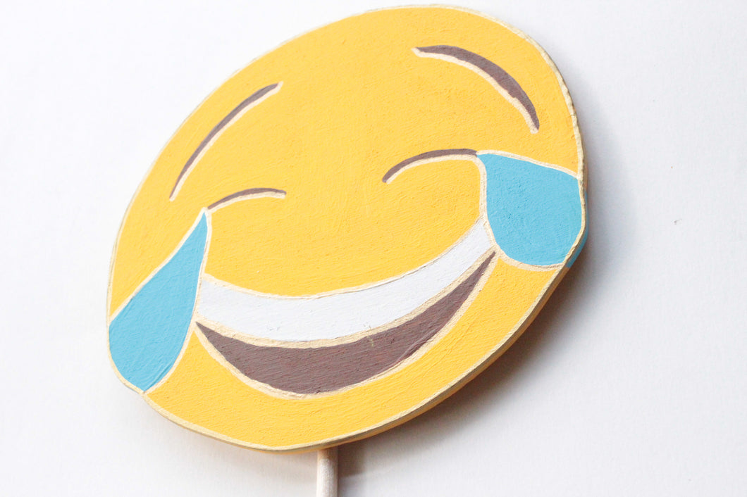 Face with Tears of Joy Emoji Wooden Photo Booth Prop