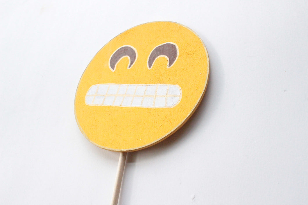 Grinning Face with Smiling Eyes Emoji Wooden Photo Booth Prop