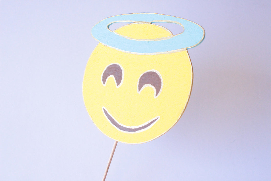 Smiling Face with Halo Emoji Wooden Photo Booth Prop
