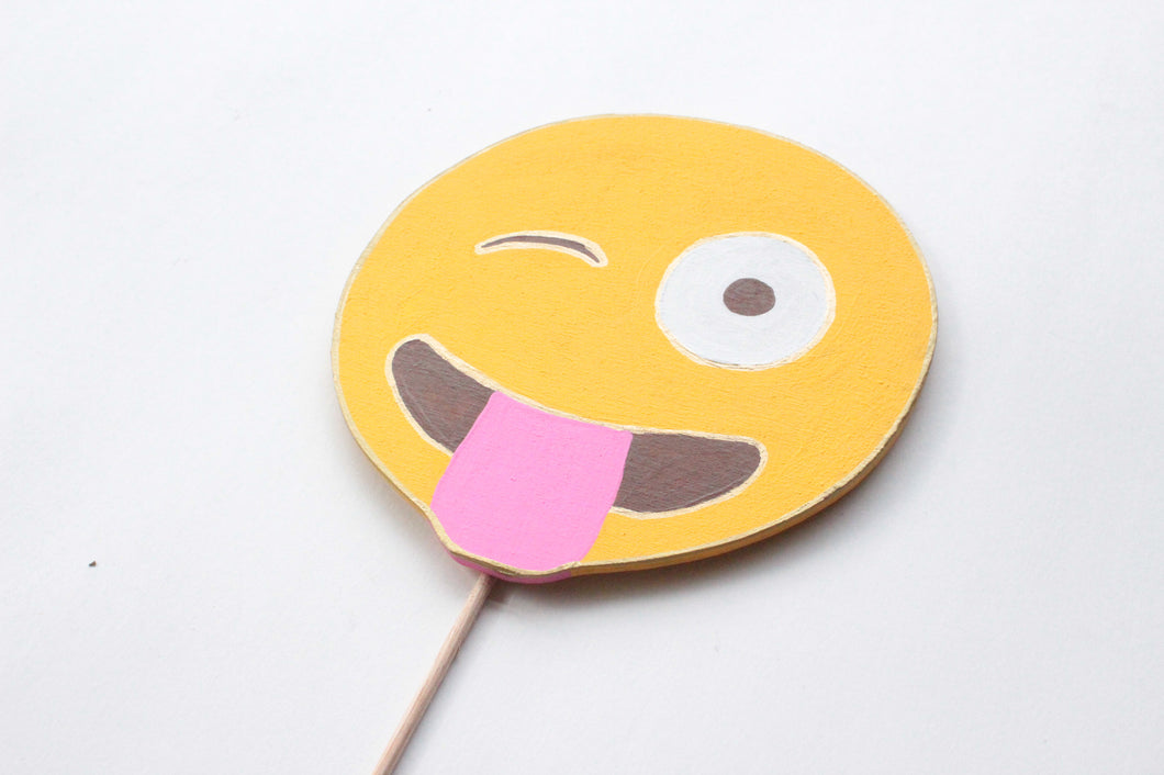 Winking Face with Stuck Out Tongue Emoji Wooden Photo Booth Prop