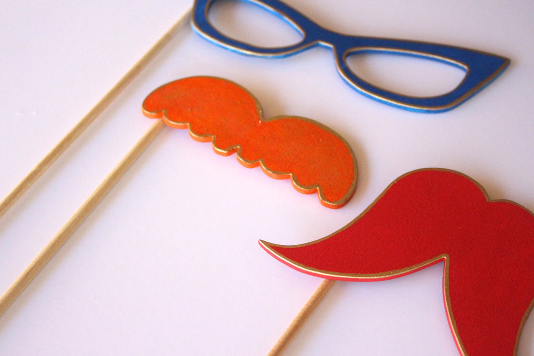 Wooden Stylish Eye Glasses and Mustache Photo Booth Props