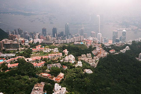 Aerial View of Hong Kong Victoria Harbour from the Peak