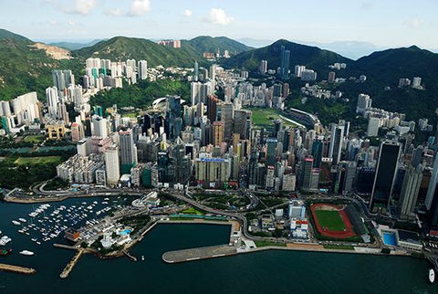 Aerial View of Hong Kong Victoria Harbour, Causeway Bay