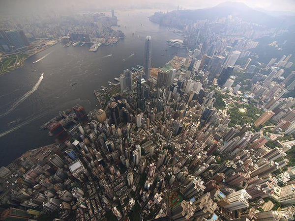Aerial view of Victoria Harbour Hong Kong Island, 2008