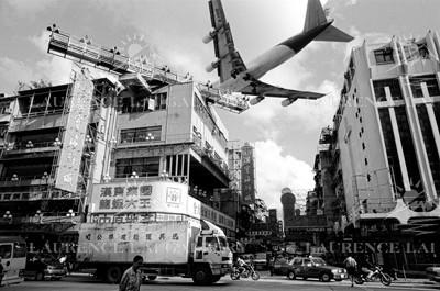 Landing Airplane Kai Tak Airport, Kowloon, 1998