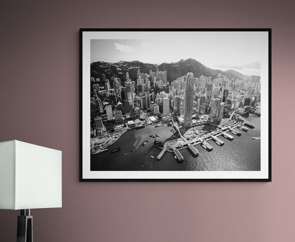 Aerial view of Victoria Harbour Hong Kong 2007 - Black and White