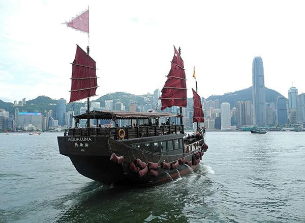 Chinese Junk & Victoria Harbour Hong Kong