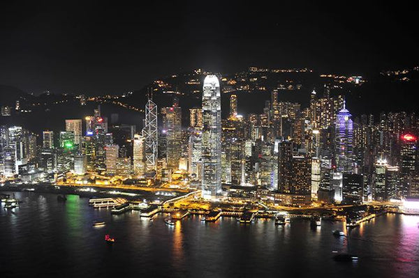 ICC and Central Ferry Piers at night Hong Kong