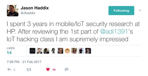Testimonial for Offensive IoT Exploitation by Attify