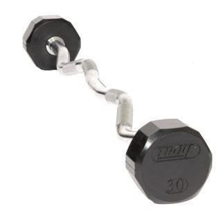 Troy Barbell Tzb 020 R 12 Sided Rubber Encased Ez Curl Contoured Barbell   20 Pounds
