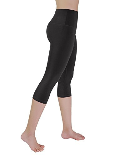 REETOYO Women's High Waist Tummy Control Workout Yoga Capris Running Leggings with Phone Pockets, Black, Small