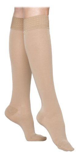 Sigvaris Women's Essential Opaque 860 Closed Toe Calf High Socks W/Grip Top 30 40mm Hg